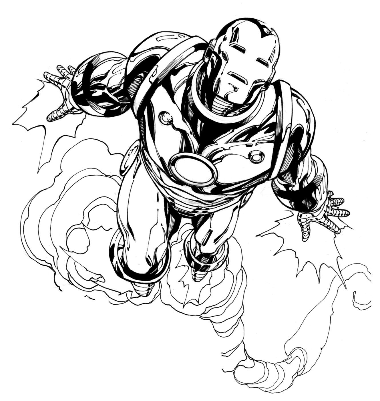 Coloring book pages avengers - Robert Atkins Art Avengers Iron Man Inks