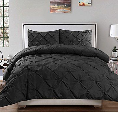 3 Piece Black Pintuck Queen Size Duvet Cover Set Tufted Puckered Pinched Diamond Duvet Cover Sets Duvet Sets Pintuck Duvet Cover