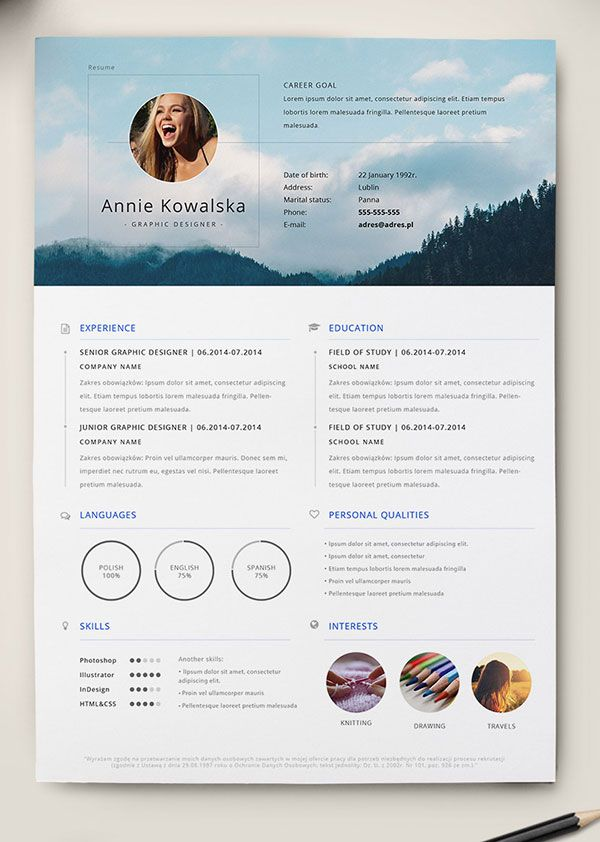 Favorit 10 Best Free Resume (CV) Templates in Ai, Indesign, Word & PSD  DR15
