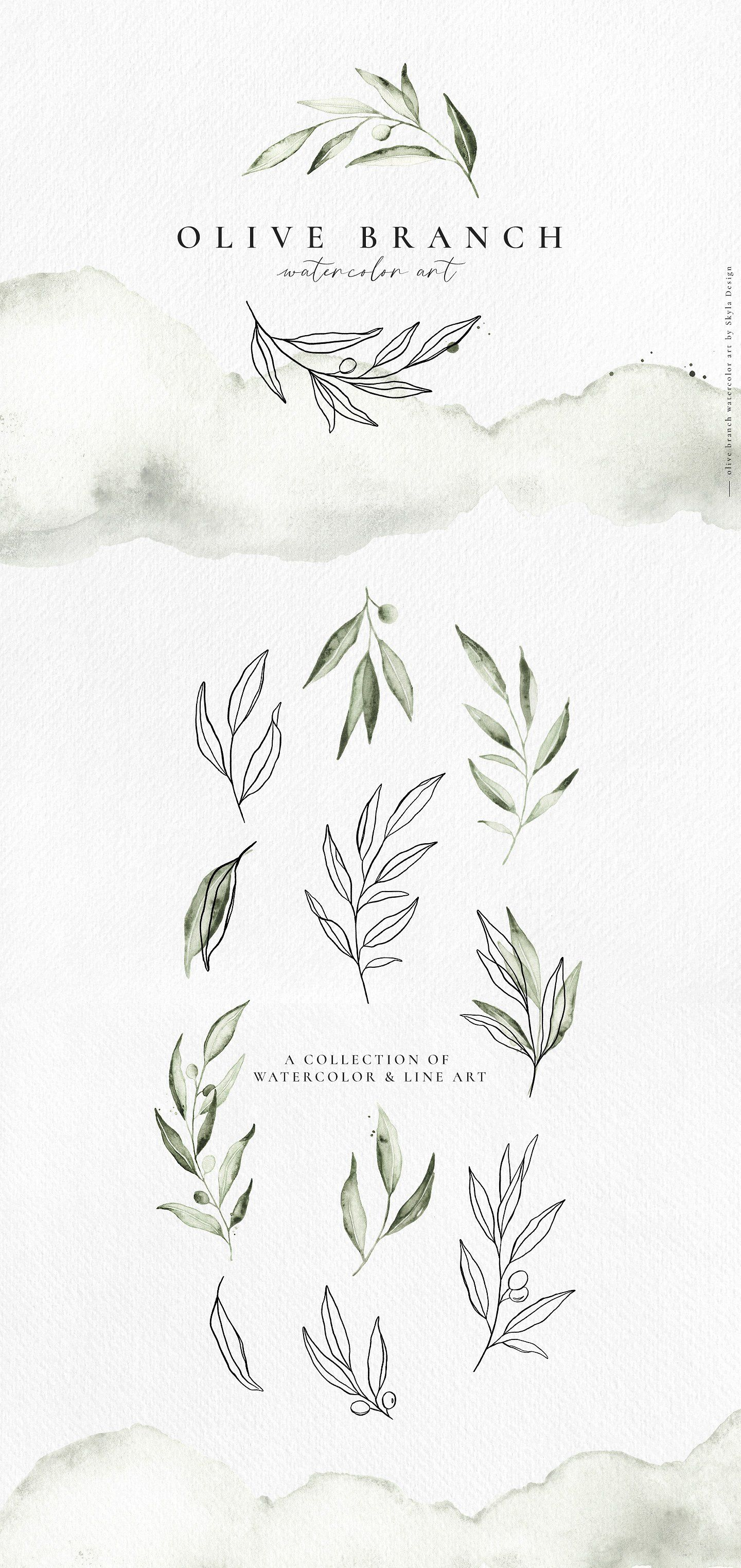 Ad: A beautiful collection of watercolor olive branches and line art. Combine the elements to create dreamy, delicate designs for weddings, mood boards, Instagram posts, magazines, & any other lovely projects. #sponsored $12