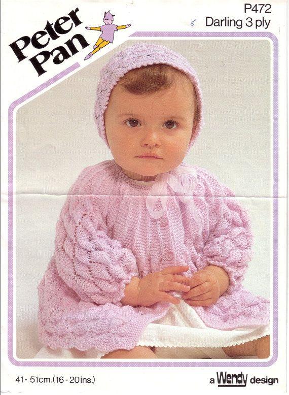 Vintage Pdf Baby Knitting Pattern Peter Pan P472 Matinee Jacket