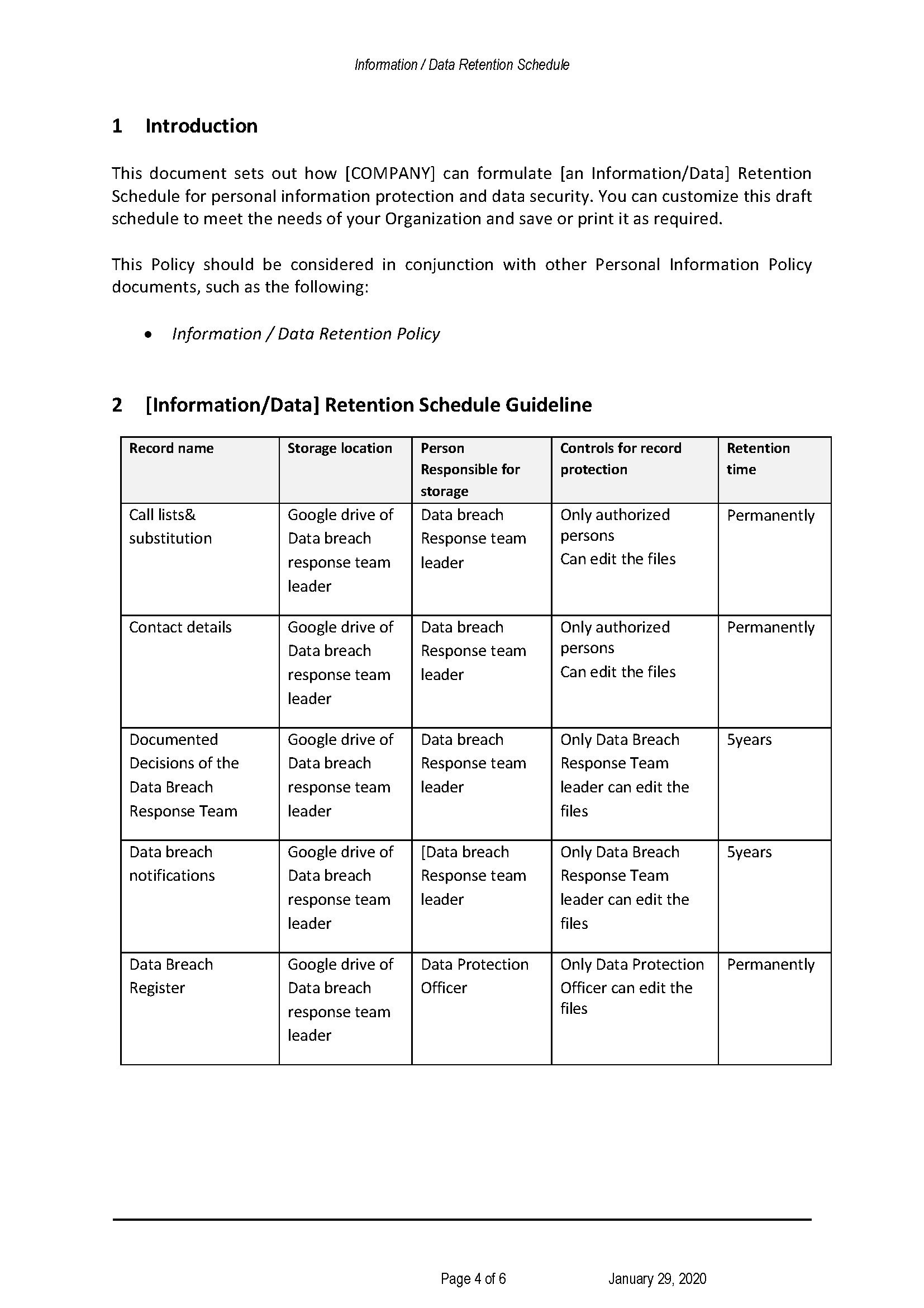 CCPA Information Retention Schedule | Templates at allbusinesstemplates.com