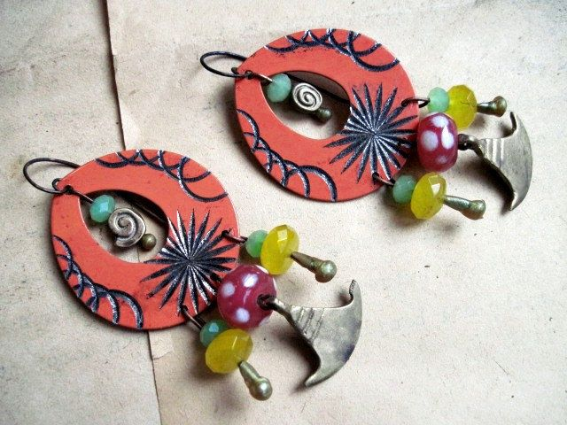 Cathay. Bright Colorful Tribal Earrings. Gemstones, metal findings, bronze axe, orange, green, yellow, pink.