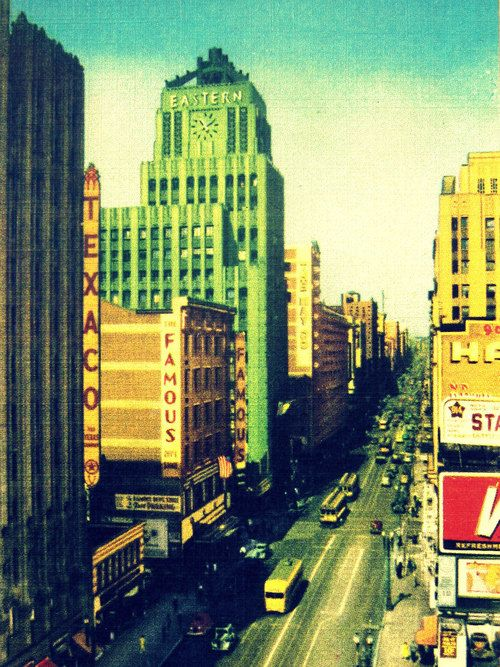 """Art Deco Architecture. """"Broadway"""" Offered by VintageBeach Art print of a vintage 1930s Downtown LA postcard, including the Eastern Columbia Building."""