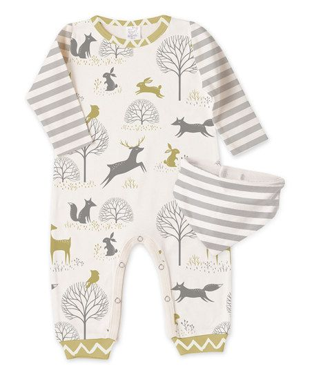 Wrap baby in cozy cotton comfort with this playsuit showcasing a playful mix of prints. A coordinating bib keeps Baby's outfit clean. Shipping note: This item is made to order. Allow extra time for your special find to ship.