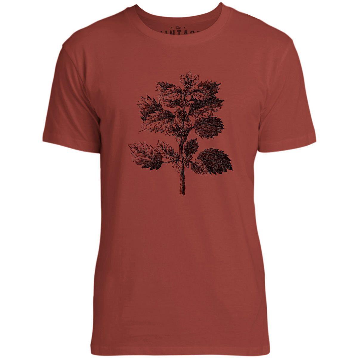 Mintage Wild Nettle Illustration Mens Fine Jersey T-Shirt (Brick)