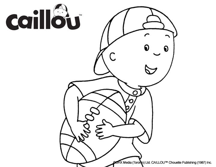 Caillou Coloring Sheet – Touchdown!