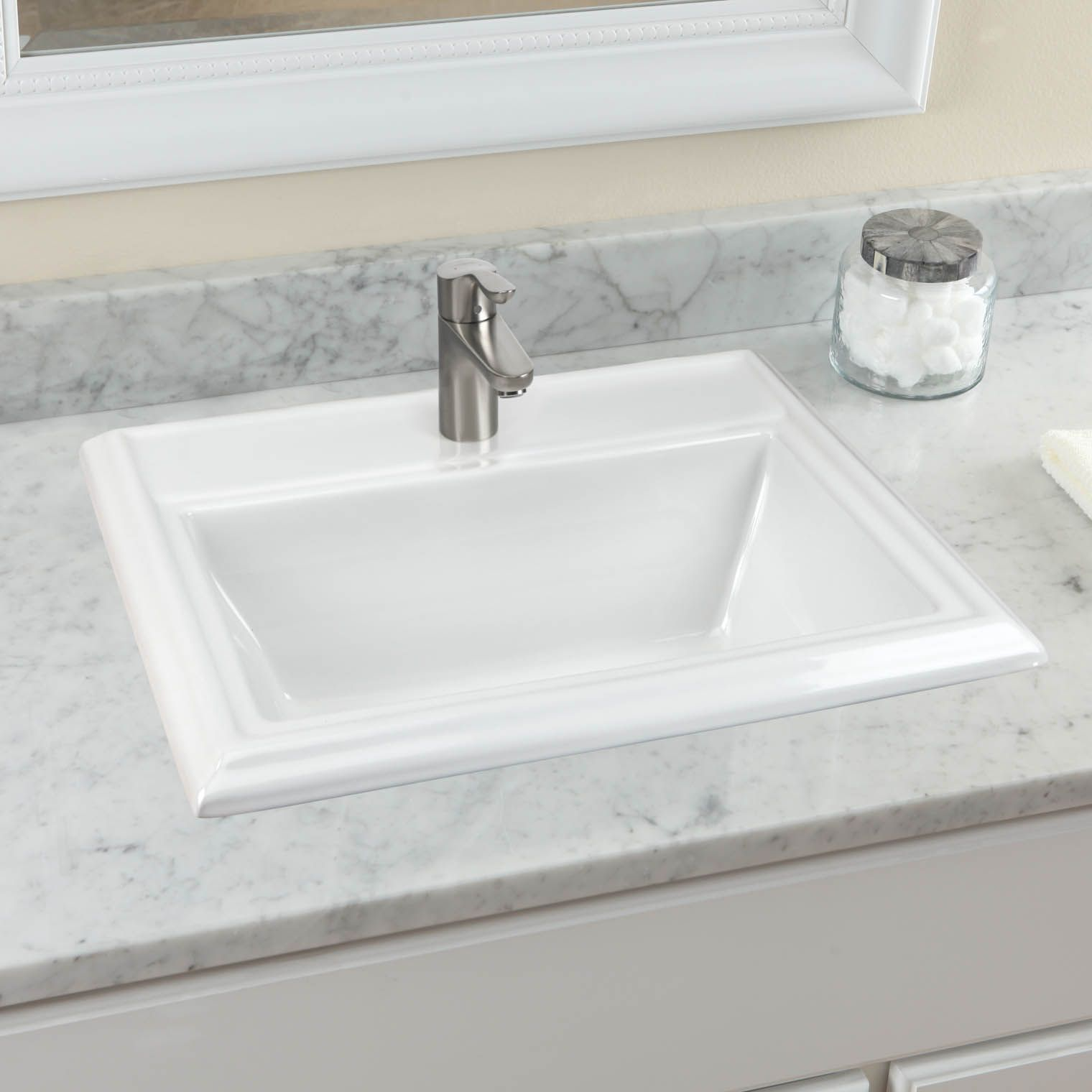 Town Square 23 1 8 Drop In Bathroom Sink For Single Hole Faucet American Standard Sinks And