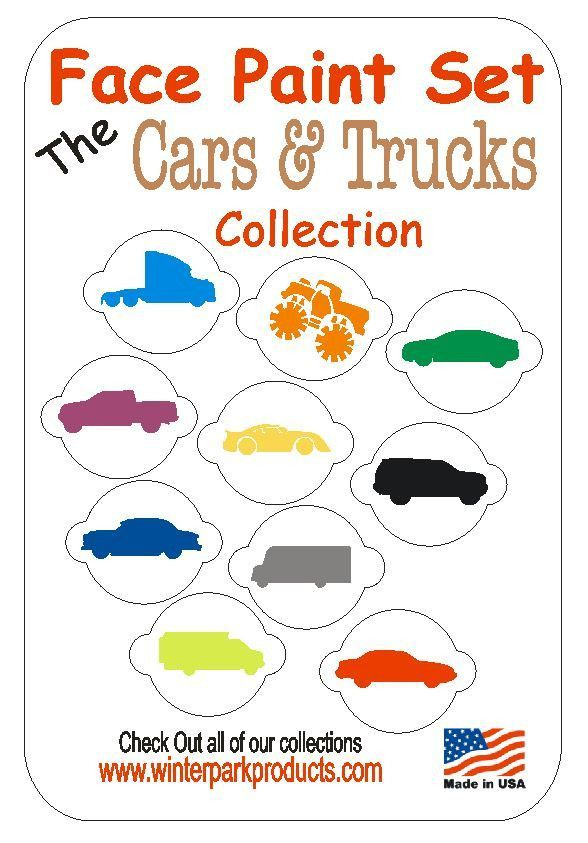 Diy Airbrush Makeup: 10 Piece Cars And Trucks Face Paint Stencil Set