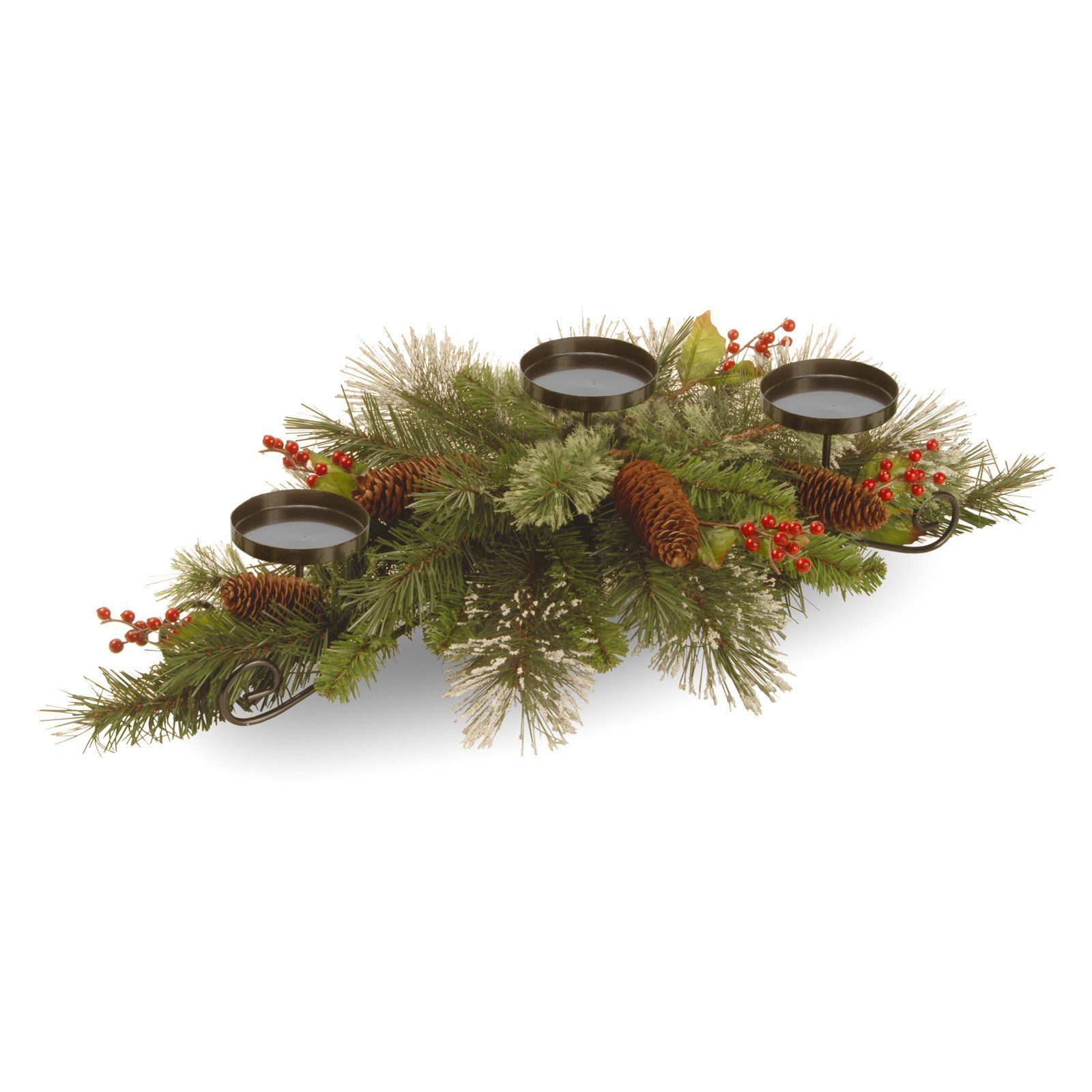 National Tree pany Wintry Pine Collection Centerpiece with 3