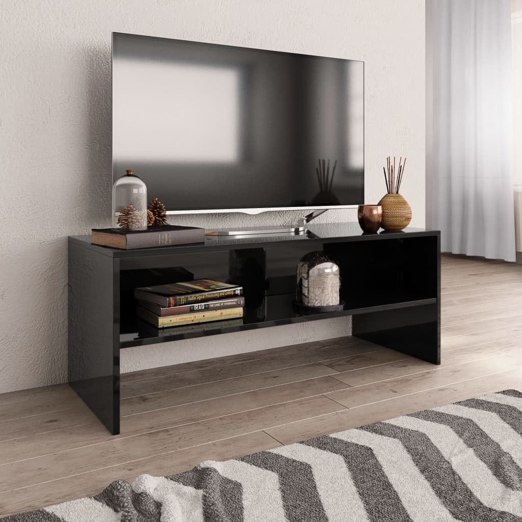 Stevige Tv Kast.Tv Meubel 100x40x40 Cm Spaanplaat Hoogglans Zwart Spaanplaat