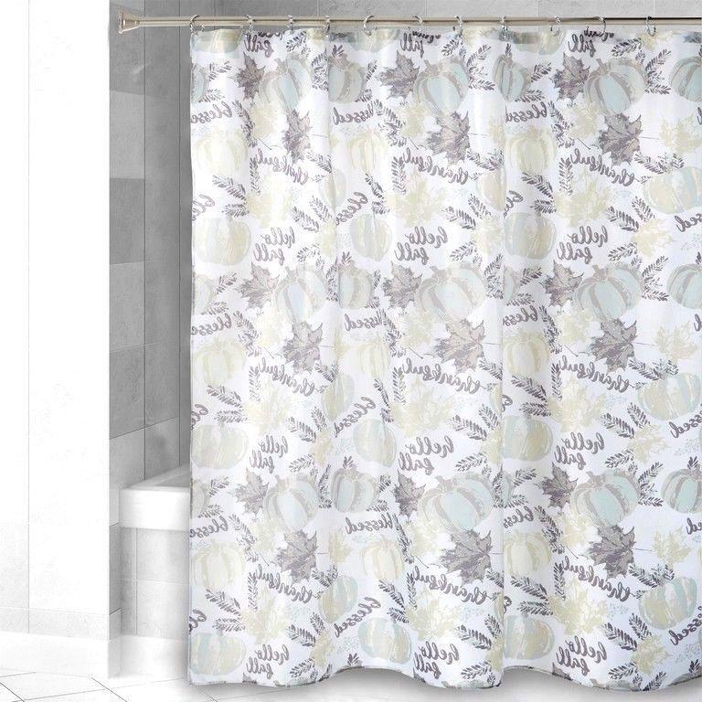 Gray Harvest Pumpkin Print Shower Curtain Fall Thanksgiving 72x72 NEW Nantucket
