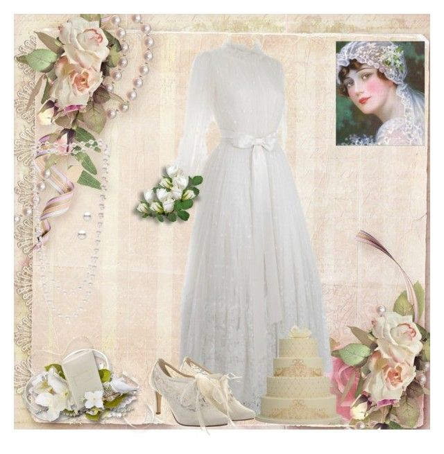 """""""Vintage bride"""" by dprice15 ❤ liked on Polyvore featuring Jean-Louis Scherrer, Rainbow Club, The Pearl Quarter and vintage"""