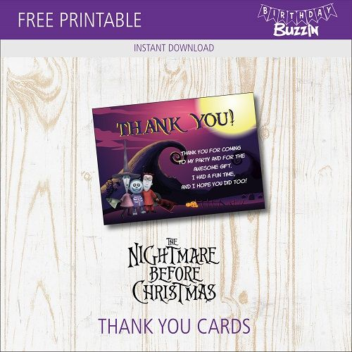 Free Printable Nightmare Before Christmas Thank You Card