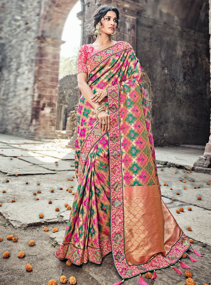64265fb728 Buy Pink Banarasi Silk Wedding Saree 121800 with blouse online at lowest  price from vast collection of sarees at m.indianclothstore.c.