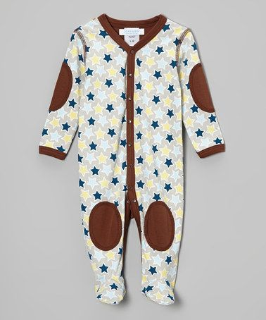 Take a look at this Brown Stars Footie by Jaxxwear on #zulily today!