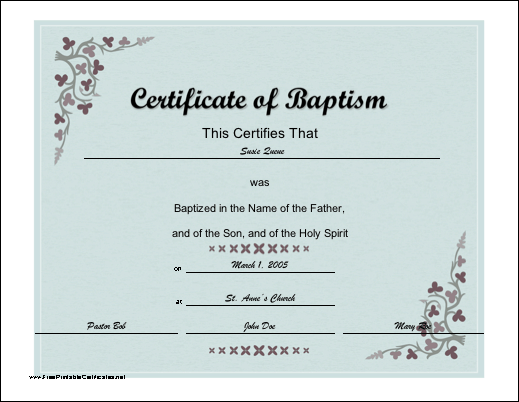 a baptismal certificate with