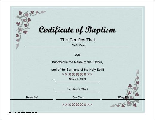 fake baptismal certificate