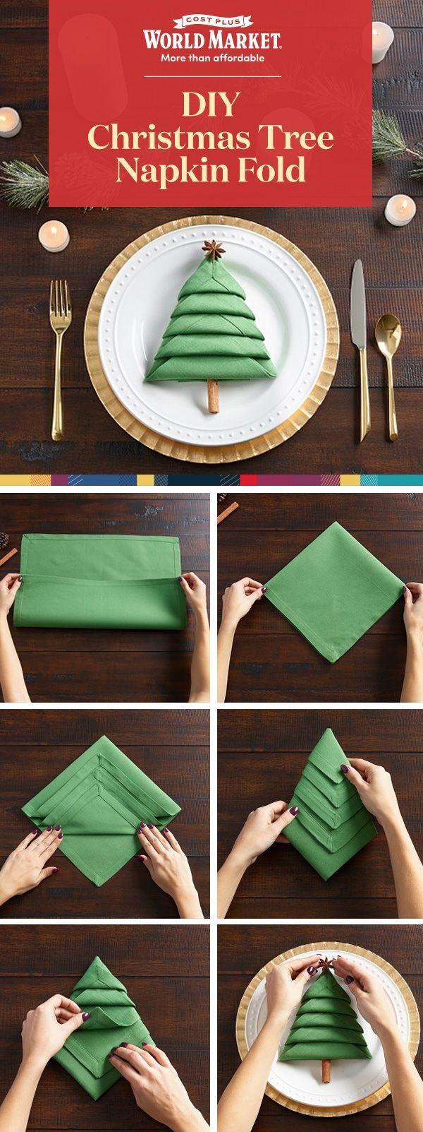 Christmas Tree Napkin Foldinghow Toideas Tipsinspiration Christmas Tree Napkin Fold Christmas Tree Napkins Christmas Diy
