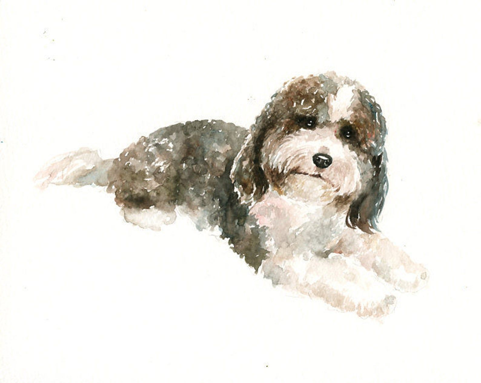 Custom Pet Portrait Painting Watercolor Pet Portrait Dog Etsy