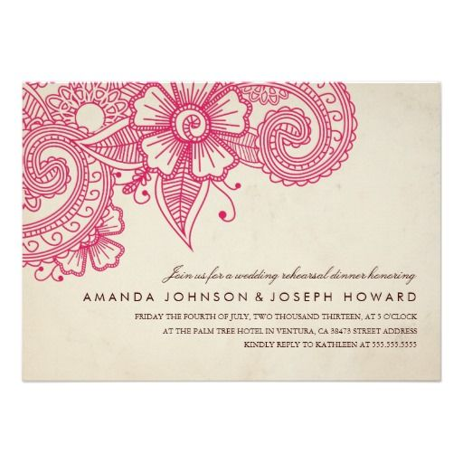 Mod Mehandi Wedding Rehearsal Dinner Invite