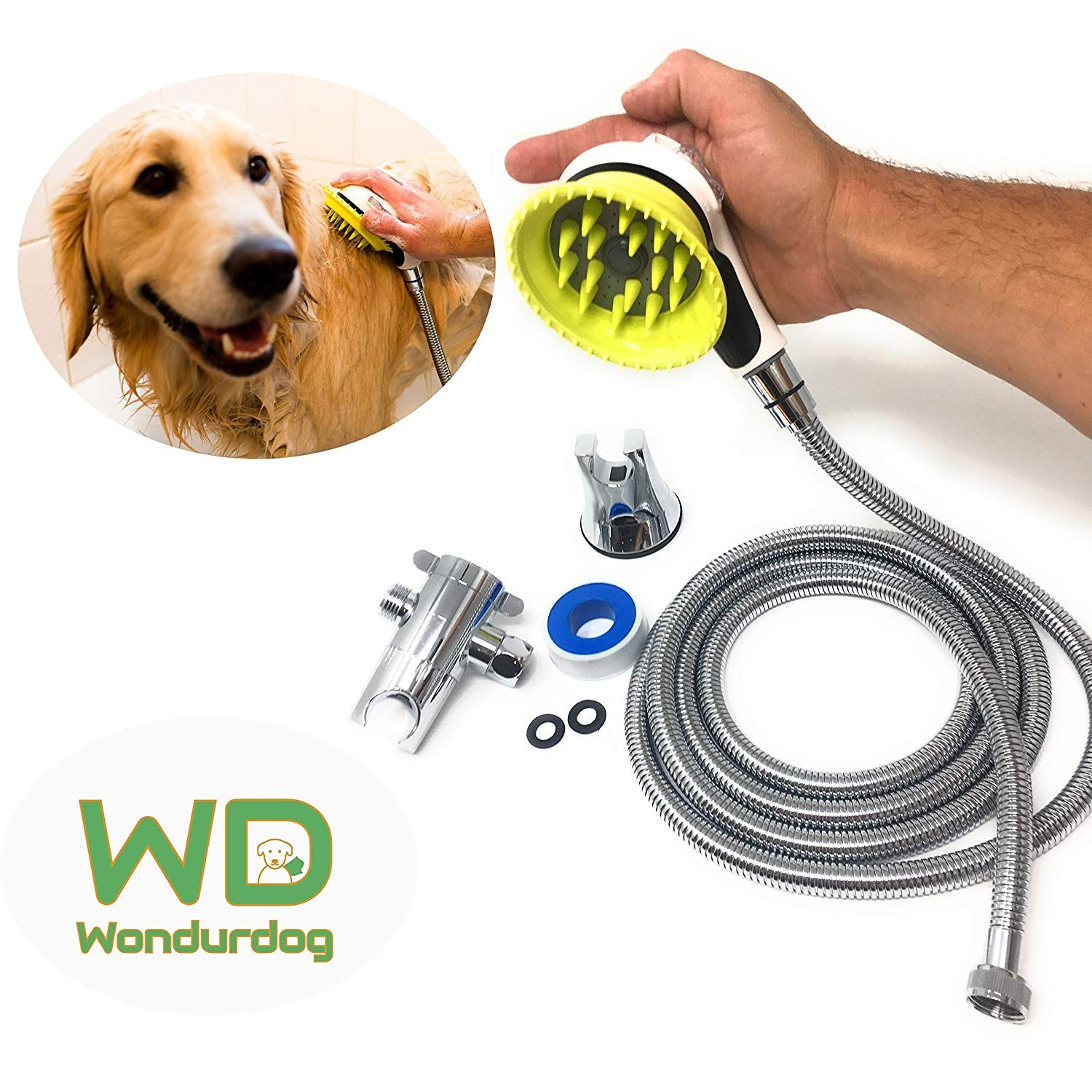 All In One Quality Dog Shower Kit Water Sprayer Brush Rubber