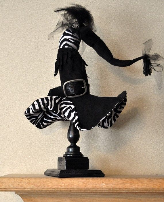 Halloween -Witch Hat - Diva Witch Hat Decor on Pedestal - Halloween - witch decorations