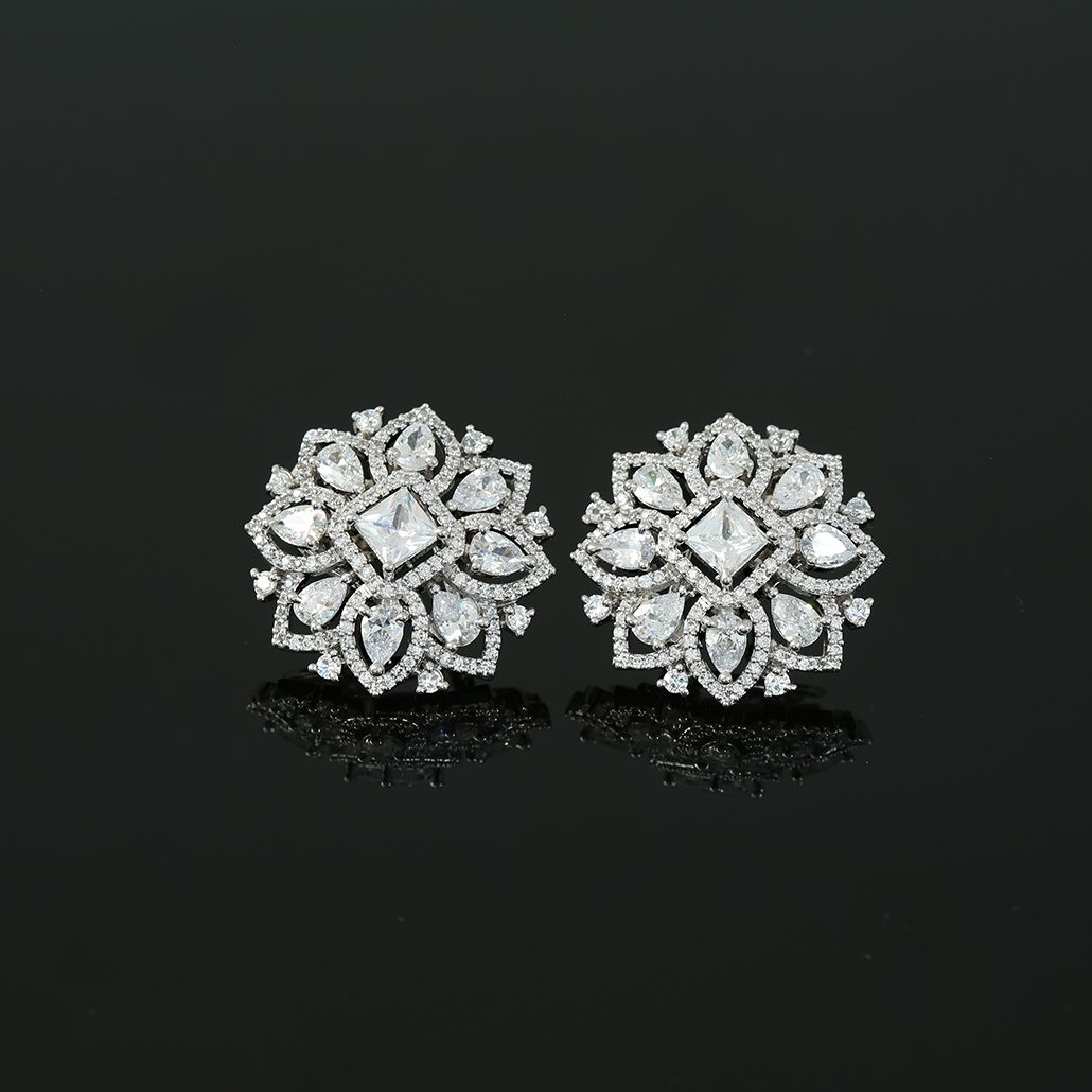 925 Sterling Silver Rhodium-plated Floral White Topaz Post Earrings