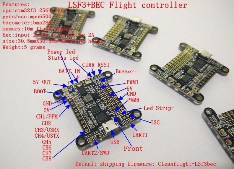 32.99$  Buy now - http://ali0lr.shopchina.info/go.php?t=32652247487 - Cleanflight LSF3BEC MPU6500 BMP280 Flight Controller Board (Input:2s-6s Output:5V 2A) 32.99$ #buyonline