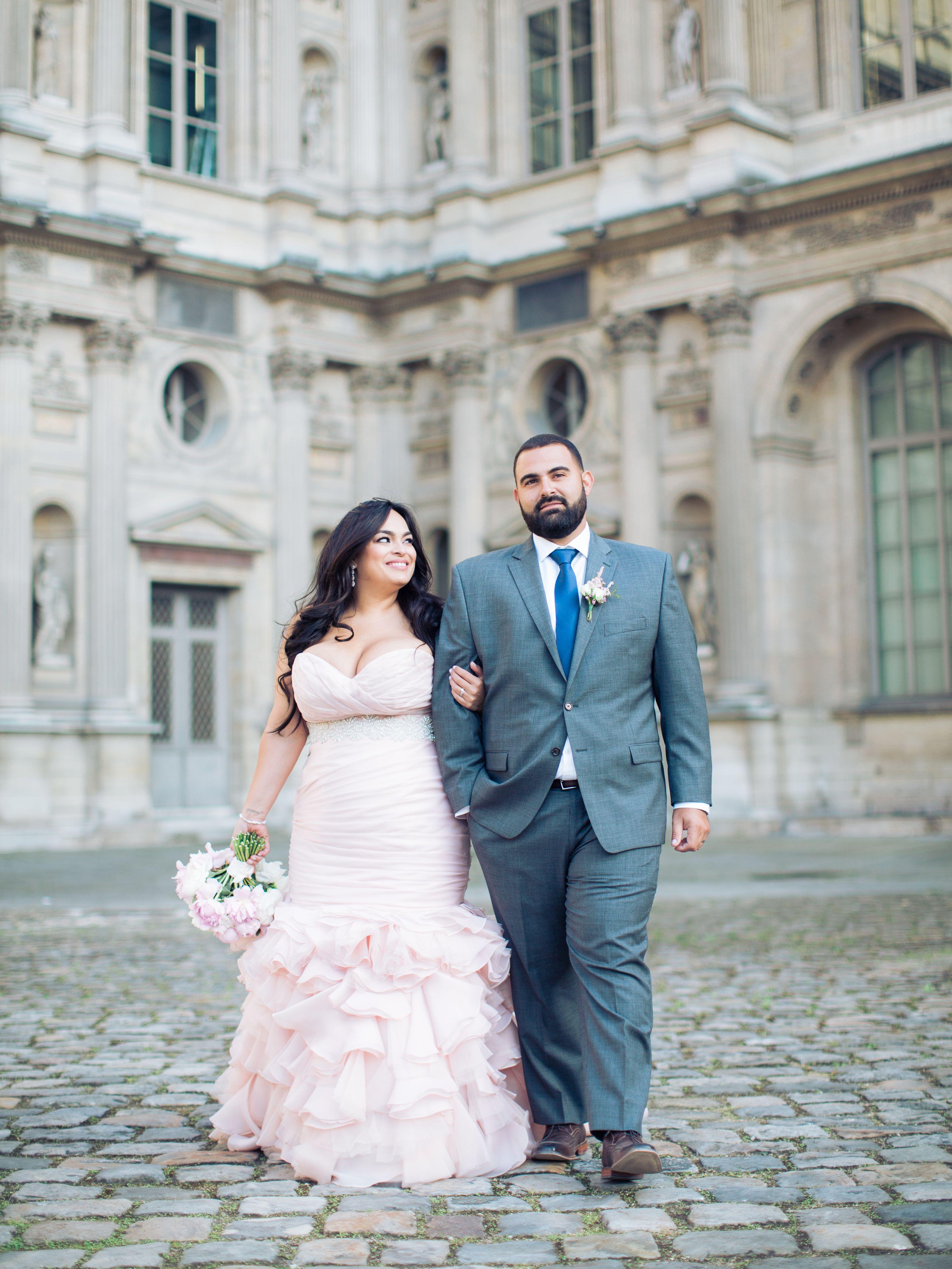 Plus size pink wedding dresses  Paris Elopement  Blush Wedding Dress  Maggie Sottero  Plus size