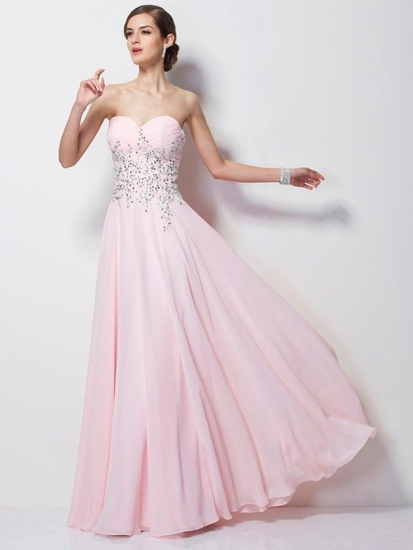 71e02ef9f05 A-Line Princess Sweetheart Sleeveless Beading Long Chiffon Dresses - Prom  Dresses - Hebeos Online