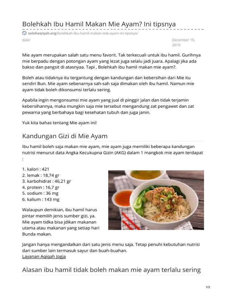 Saya Sedang Membaca Bolehkah Ibu Hamil Makan Mie Ayam Ini Tipsnya Di Scribd Food Fruit Beef