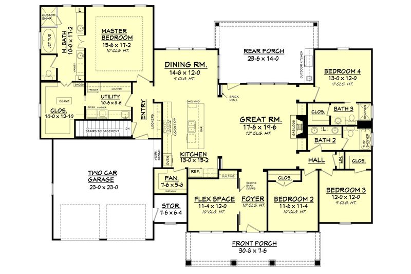 Craftsman Style House Plan 4 Beds 3 Baths 2639 Sq Ft