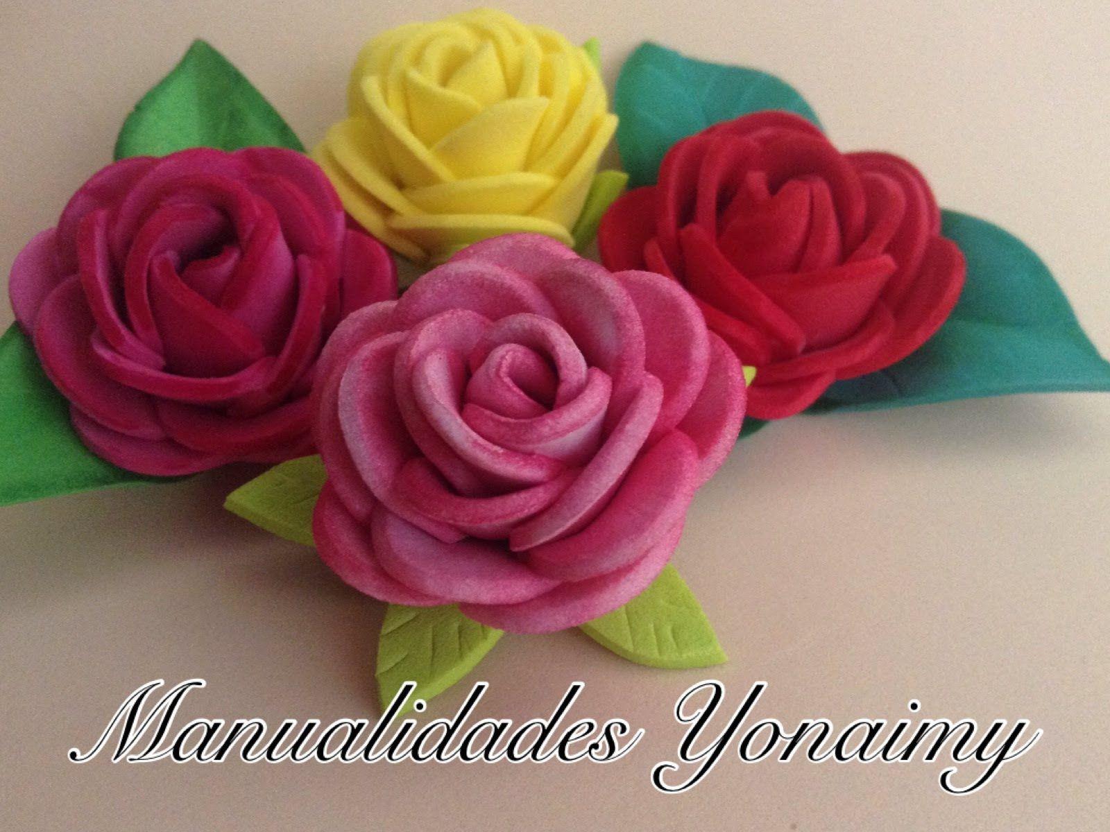 rosas pequeas de foamy o goma eva small foam roses lista
