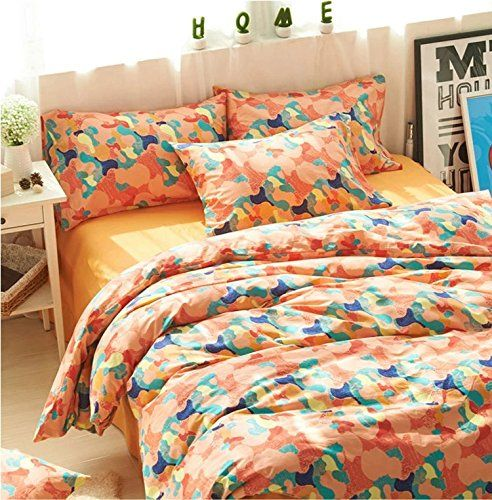 Norson Camouflage Bedding Sets  Kids Bedroom Bedding Sets  Cotton Korean Style Bedding  Full  Queen  King Orange Full *** Be sure to check out this awesome product.