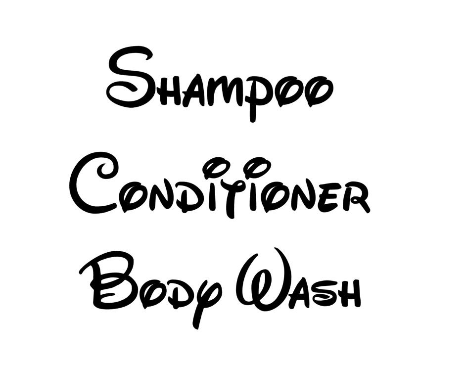 Disney Style Shampoo Conditioner Body Wash Vinyl Decal Sticker Bundle Unbranded In 2020 Vinyl Decal Stickers Vinyl Decals Decals Stickers