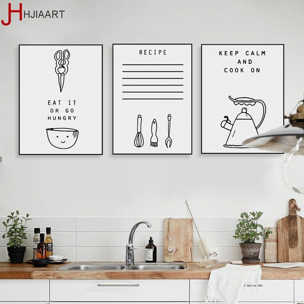 Wall Art Decor for Kitchen Elegant Black White Kawaii Cooking ...