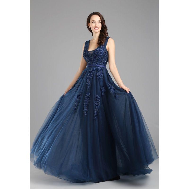 cedf18165abf Tmavomodré večerné šaty na ramienka z tylu