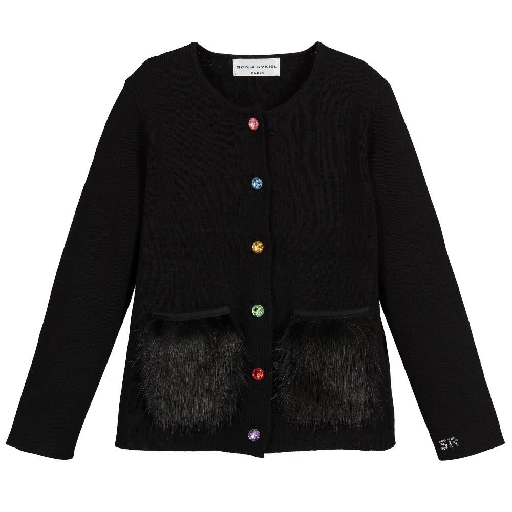 0d11a61883b457 Girls Black Wool Cardigan for Girl by Sonia Rykiel Paris. Discover more  beautiful designer Tops for kids online