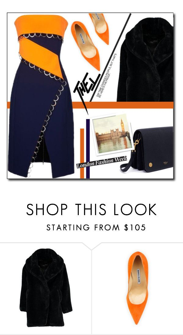 """Two - Tone Dress !"" by emapolyvore ❤ liked on Polyvore featuring Boohoo, Manolo Blahnik, Thierry Mugler and Mulberry"