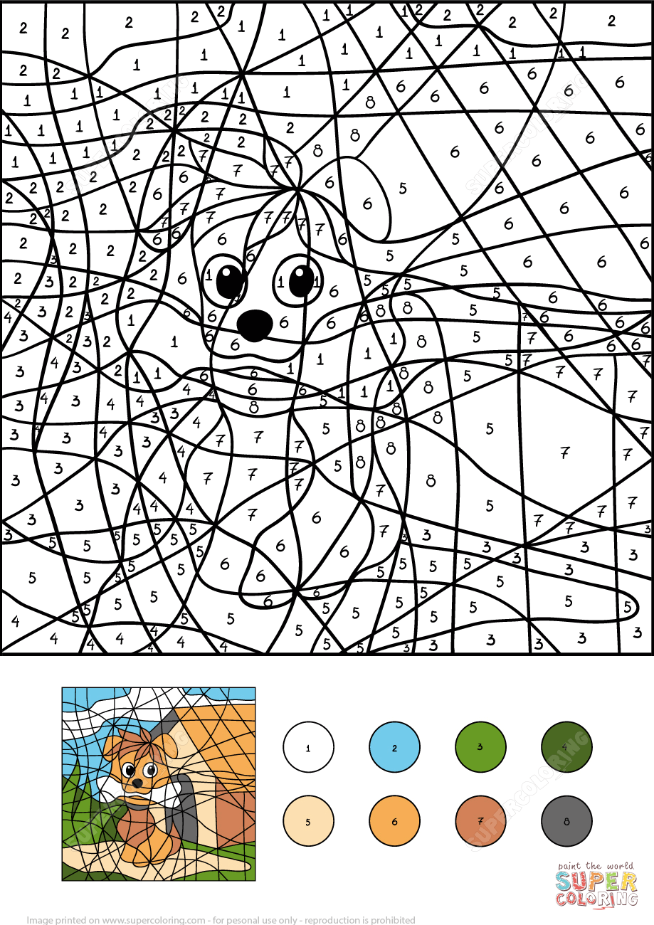 dogcolornumberprintablecoloringpagesclicktheview