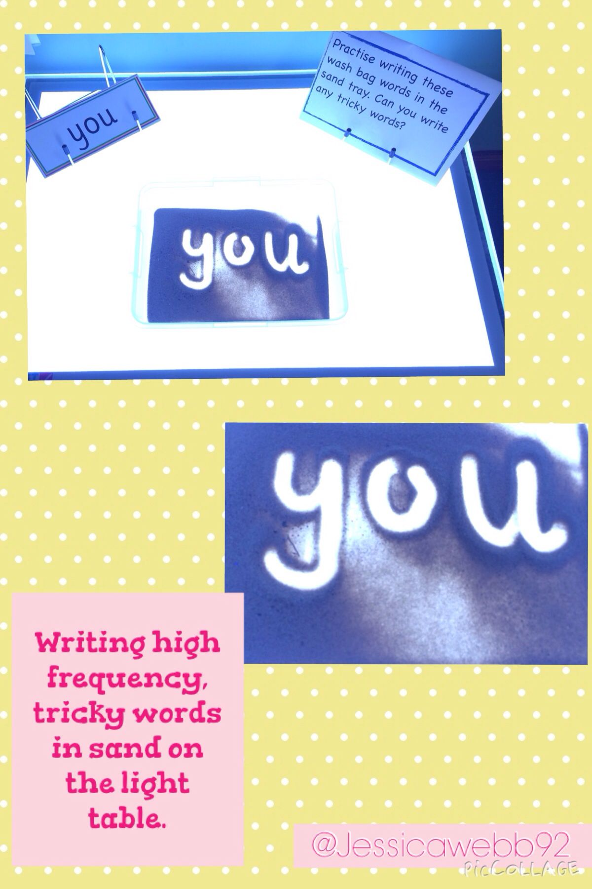 Writing High Frequency Tricky Words In Sand On The Light Table