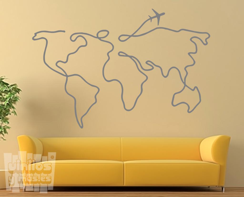 Mapa Mundi Trazo Avión Vinilosymas Es Arte De Pared De Vinilo Dibujos De Habitaciones Arte De Pared