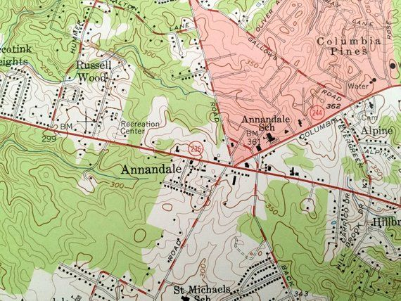 Antique Annandale Virginia 1956 Us Geological Survey Topographic