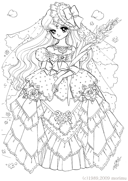 Japan Dream Girl Lace Dress Free Coloring Page Adult And
