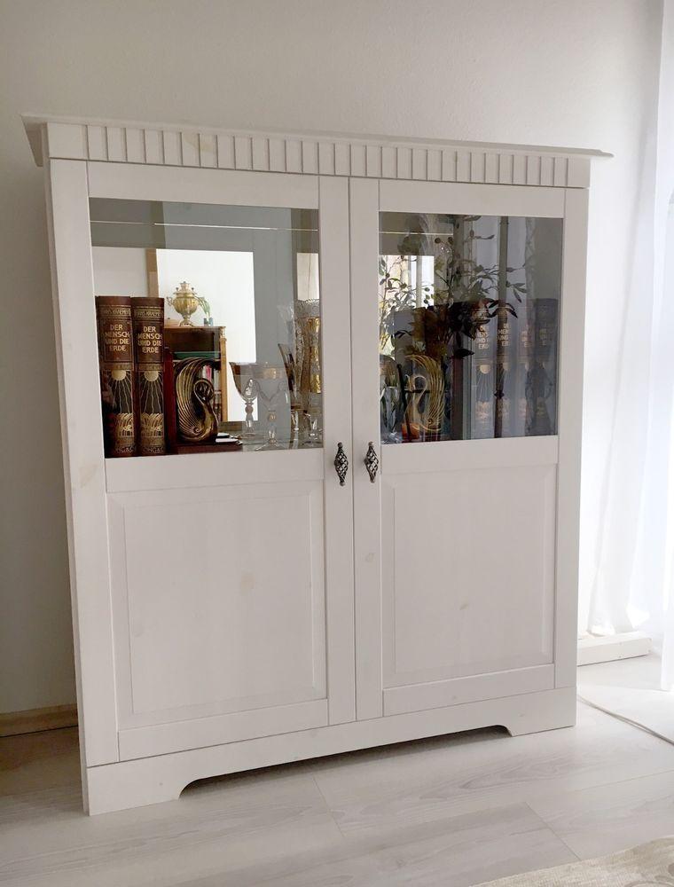 vitrine weiss vintage schrank anrichte spiegelschrank sideboard kommode garten wohnen in 2019. Black Bedroom Furniture Sets. Home Design Ideas