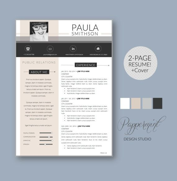 3pk Resume Template with Photo and Cover Letter for WORD Cover