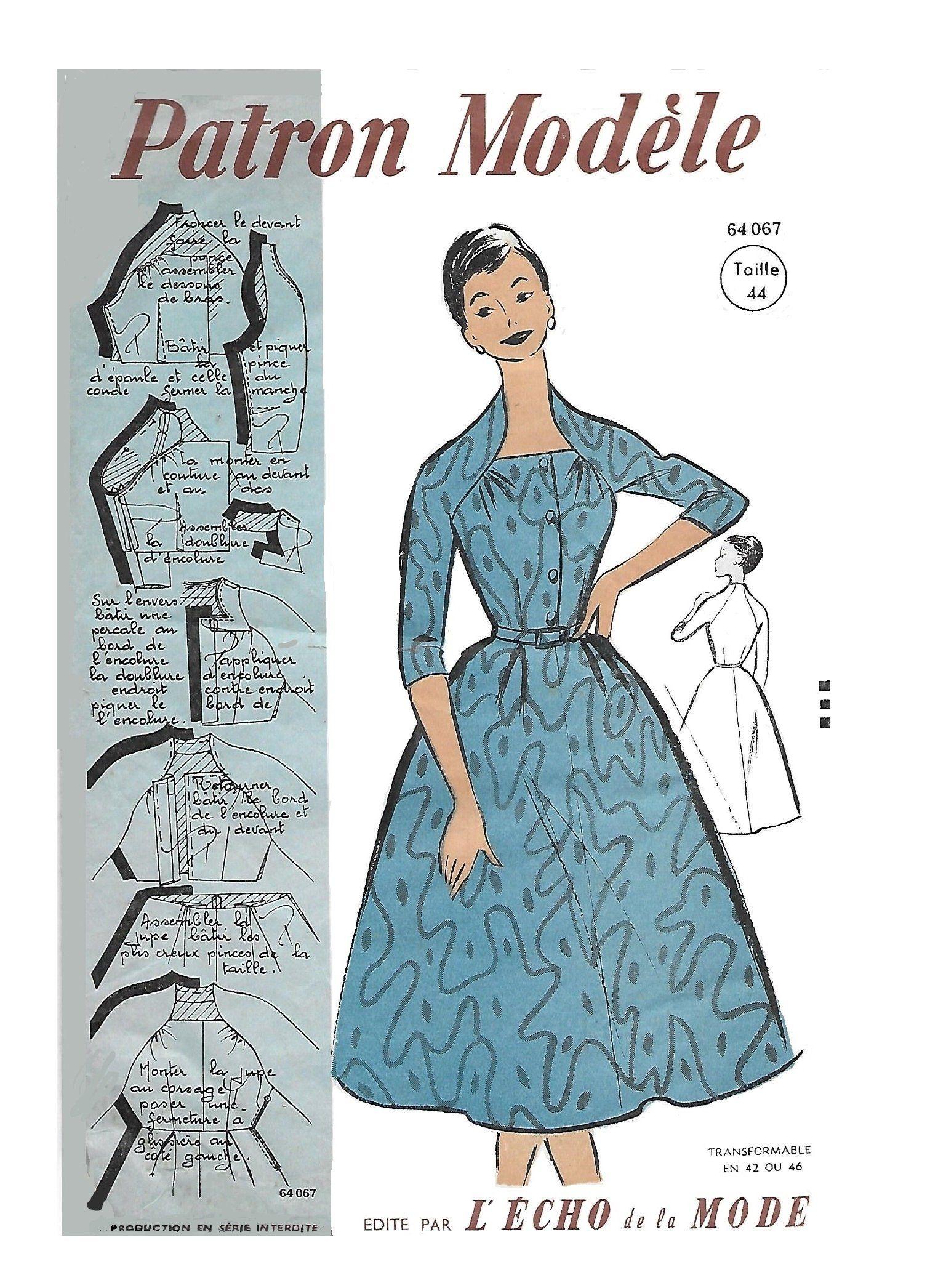French Sewing Patterns : french, sewing, patterns, Patron, Modele, 64067, Women's, 1950s, Dress, Unprinted, French, Sewing, Pattern, 37.79, Patterns,, Dress,, Womens, Patterns