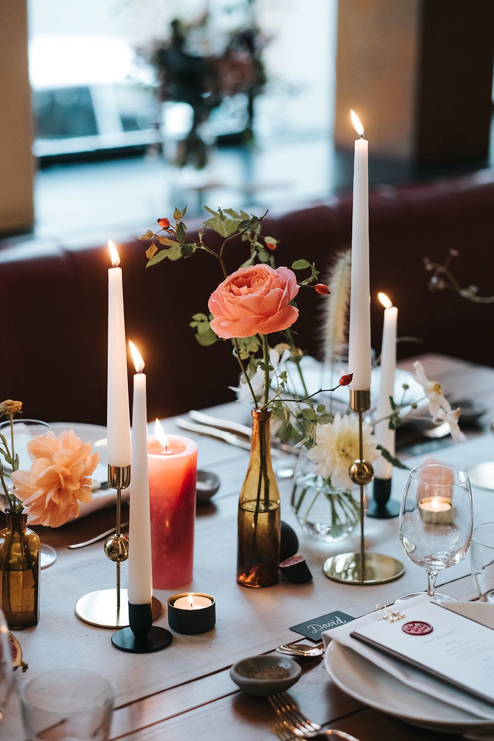 Relaxed London Wedding With Gold Accents Rich Autumnal Tones U0026 Tapered  Candles