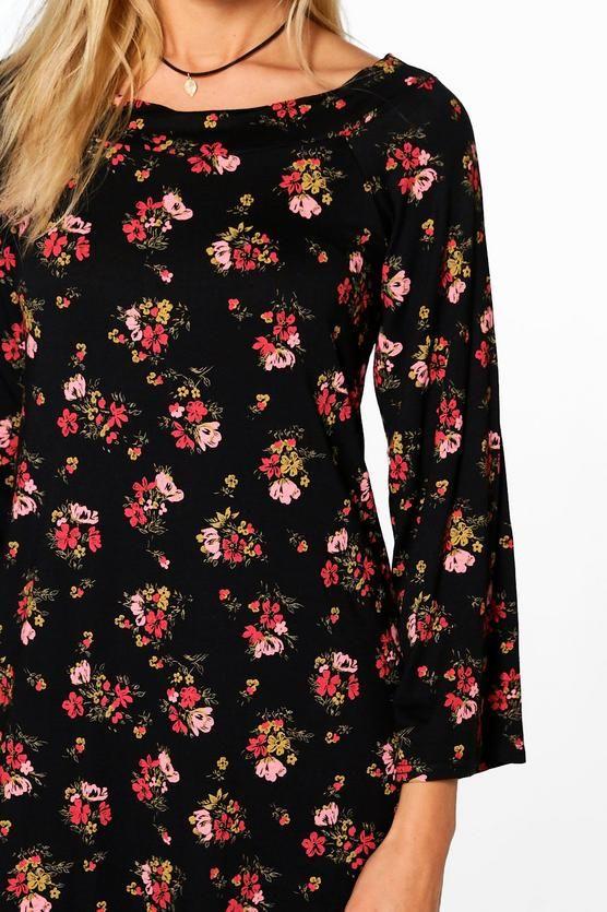 7b71e65a656fb Floral Bardot Sleeved Shift Dress | India Online Shopping | Sleeves ...